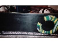 Snowboard, Bindings, Boots, Helmet, Integrated Headphones, Goggles, 3x Trousers, Gloves, Bag