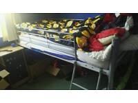 Metal frame high sleeper single bed