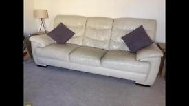 DFS Leather Cream Sofa Set