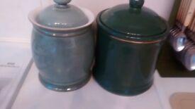 Denby pale blue large storage jar(green jar sold)