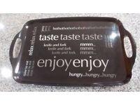 Black modern tray with 'Enjoy'