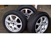 Three Jaguar X-Type alloy wheels for sale. 5-Stud all with Pirelli P6000 POWERGY tyres 205/55/16
