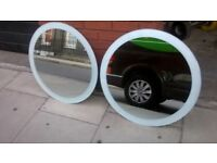 Two round mirrors with frosted borders excellent central London bargain