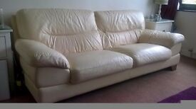CREAM LEATHER THREE PERSON SOFA WITH WOODEN LEGS