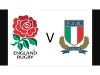 England v Italy Six Nations Rugby Tickets x 2 £350 the pair