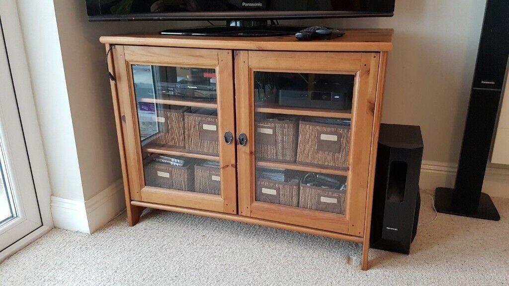 Ikea leksvik solid pine tv unit stand cabinet in bradford