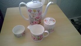 Wedgewood Meadowsweet Coffee Pot, box, Sugar bowl and Jug. Excellent Condition