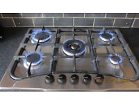 Gas Hob. Howdens 5 Burner Stainless steel.