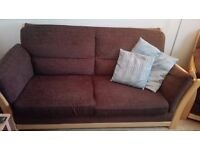 Comfy 2 seater sofa, with 2 matching armchairs