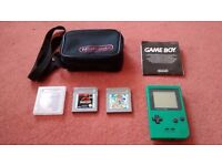 Nintendo GameBoy Pocket Green + Super Mario Land 2 + Jurassic Park + Carry Pouch/ Case + Leaflet