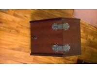 Wooden coal box - without metal inner - nice fireside decorative item