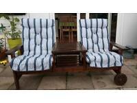 Hard wood double garden seat