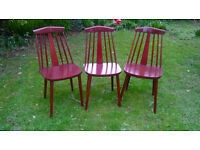 3 x matching wooden Mid 20th century chairs poss Ercol?? £15 each HELSTON