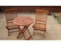 GARDEN HARDWOOD TABLE & 2 CHAIRS (ALL FOLDING)