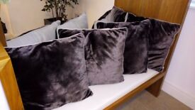 4 Brown Velvet Exclusive Pillows 55 x 55 cm