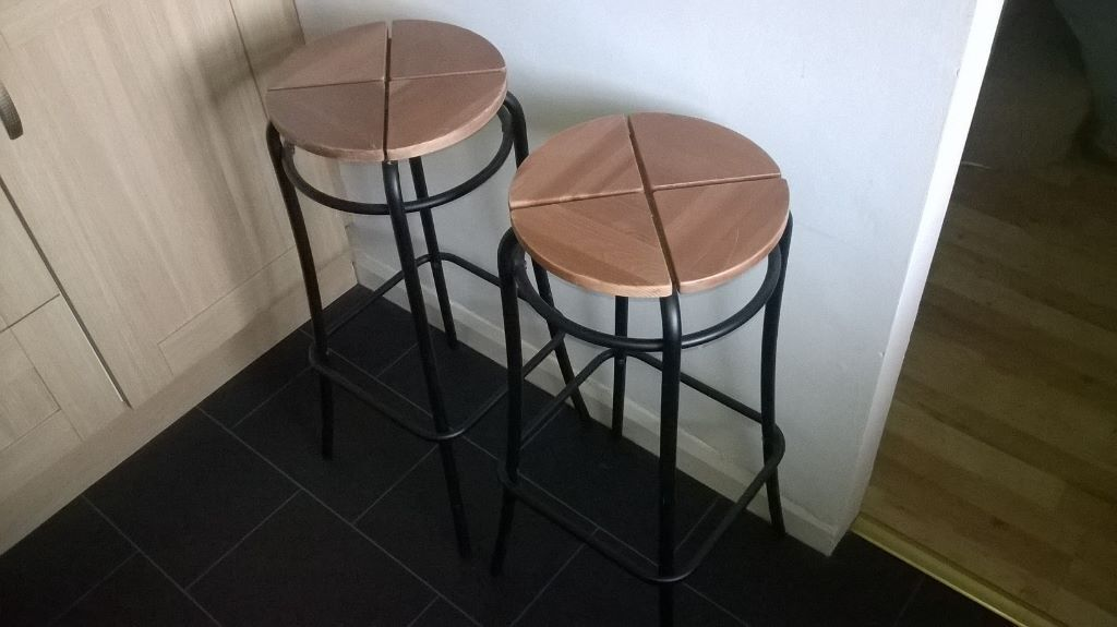 Pair Of Ikea Agne Barstools Black Wood Finish Breakfast Bar Stools For Kitchen