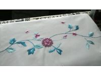Cream Double Duvet Cover Set with Jade and Cerise embroidery, includes 2 pillowcases.