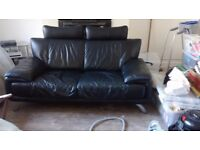 Black leather sofa free to collect