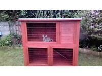 LARGE WOODEN TWO STOREY RABBIT HUTCH