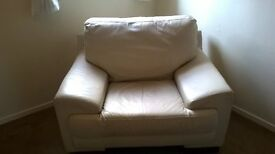 CREAM LEATHER 3-2-1 SUITE plus matching leather cushions