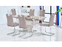 Zia High Gloss Cappuccino Extending Dining Set with 6 Chairs BRAND NEW