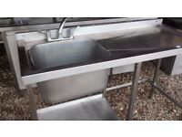 COMMERCIAL STAINLESS STEEL SINGLE BOWL R/H DRAINER SINK UNIT