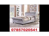 Luxury Miami Crush Velvet Sleigh Beds & Mattress
