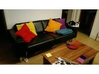 3 seater black leather sofa £50