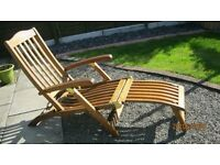 Garden lounger chair - solid wood and brass with cushion