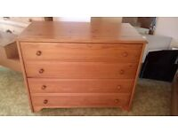 Second hand wooden chest of drawers