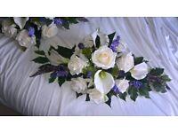 Wedding Top Table Arrangement Ivory, Scottish Thistle.