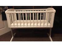 White Swinging Crib & Bedding