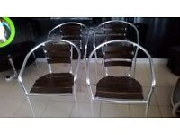 LOVELY SET OF 4 ALUMINIUM AND WOOD BISTRO , CAFE , GARDEN CHAIRS