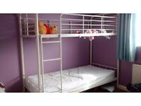 6ft tall cream bunk beds with matteress and protectors only a year old