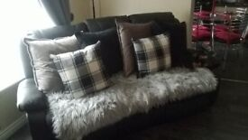 3 seater black leather recliner sofa