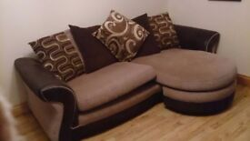 ***4 seater pillow back sofa, large swivel chair, armchair and storage footstool for sale