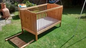 child's wooden cot bed