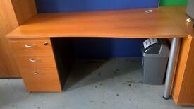 Cherry wood effect wave desks