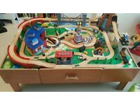 Wooden train table with extras