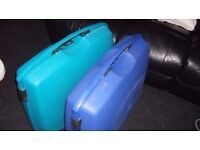 2 x modern hard american tourister suitcases