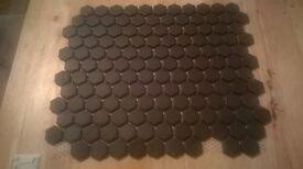 HEXAGON BLACK MOSAIC SHEETS X6