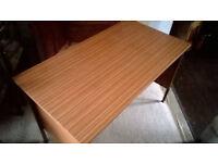 Desk, sturdy metal framed MDF/laminte desk with side/back boards