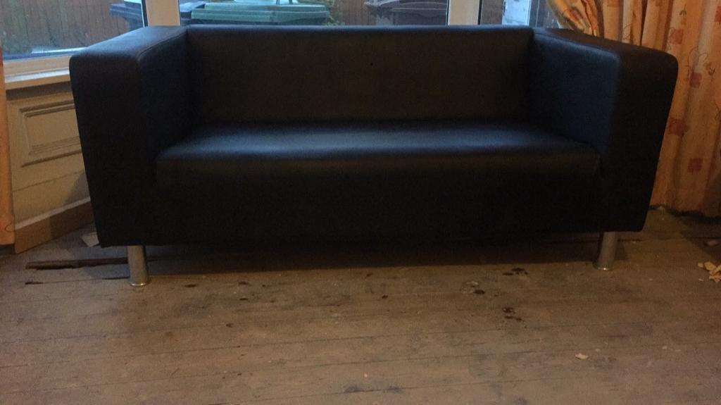 2 Black Leather Sofas & 2 Cream Leather stools