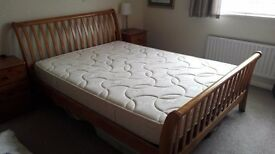 Hard wood sleigh style double bed & mattress