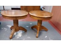 2 Heritage oak round lamp tables