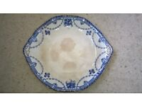 Burgess and Ware semi porcelain serving platter - blue pattern 30cm wide Collect only