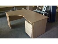 Light Oak L Shape Desk & Filing Pedestal