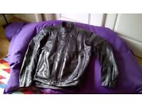 Hein Gericke full armour black leather motorcycle jacket as new, size 58.