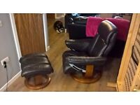 leather recliner and footstool, good condition £60ono