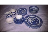 Old Willow Blue Willow English Ironware Plates Bowls Cup Saucers Sugar Bowl Milk Pot